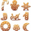 Vector holiday gingerbread cookies — Stock Vector #7890845