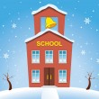 Vector country school house in winter — Stock Vector