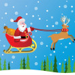 Vector santa claus and red nosed reindeer — Stock Vector #7891115