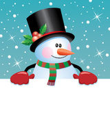 Vector snowman holding blank paper — Wektor stockowy