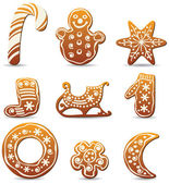 Vector holiday gingerbread cookies — Stock Vector