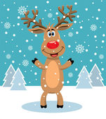 Vector red nosed reindeer — Stock Vector