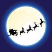Vector santa claus and deers flying in front of the moon — Stock Vector