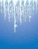 Vector shiny icicles and snowfall — Stock Vector