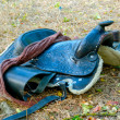A dark brown saddle - Stock Photo