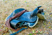 A dark brown saddle — Stock Photo