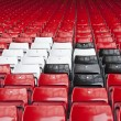 Rows of seats in football sports stadium — Stock Photo