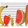 Unique healthy eating image of fruit on police id line up — Stock Photo