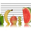 Royalty-Free Stock Photo: Unique healthy eating image of fruit on police id line up