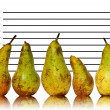Stock Photo: Unique healthy eating image of fruit on police id line up