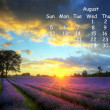 English landscape 2012 calendar page August — Stock Photo