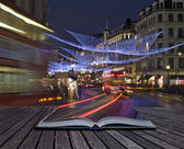 Creative concept idea of London Christmas lights coming out of m — Stok fotoğraf