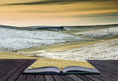 Creative concept idea of Winter landscape coming out of pages in — Foto Stock