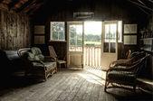 Nostalgic retro effect Summer Boat House with glowing sun — Stock Photo