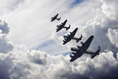 World War Two British vintage flight formation — Stock Photo