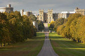 Windsor Castle viewed along Long Walk in Windsor Great Park in E — Stock Photo