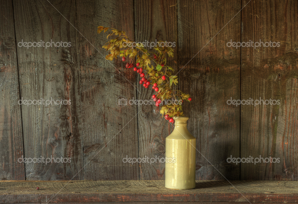 Still life image of dried flowers in rustic vase against weathered wooden background — Stock fotografie #7025861