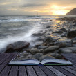 Creative concept image of seascape landscape coming out of pages — Stock Photo #7033338