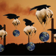 Stock Photo: Creative concept of flying elephants saving planet Earth from po
