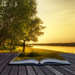Magical fantasy style sunset in pages of magical book - Stock Photo