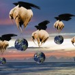 Creative concept image of flying elephants carrying Planet Earth — Stock Photo
