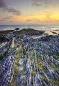 美しい太陽と海の見事な活気のある岩 — ストック写真