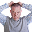 Angry mad frustrated middle aged caucasian male portrait — Stock Photo