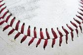 Close up macro of used baseball stitching — Stock Photo