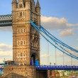 London's Tower Bridge bathed in sunlight on a bright Summer's day — Stock Photo