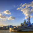 HMS Belfast docked on River Thames in London — Stock Photo
