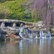 Beautiful landscaped ornamental gardens in Spring with lake and — Photo