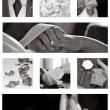 collection de collage de mariage en noir et blanc — Photo