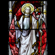 Beautiful stained glass window detail in 15th Century Saxon chur — Stock Photo #7094369