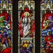 Beautiful stained glass window detail with vibrant colors and ex — Stock Photo