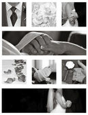 Wedding Collage collection in black and white — Stock Photo