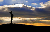 Jesus Christ Crucifixion on Good Friday Silhouette — Stock Photo
