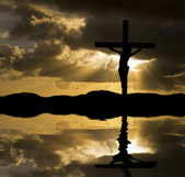 Jesus Christ Crucifixion on Good Friday Silhouette reflected in — Stock Photo