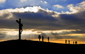 Jesus Christ Crucifixion on Good Friday Silhouette with w — Stock Photo