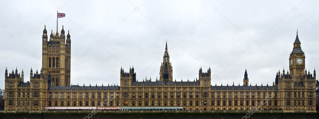 Houses of Parliament, also known as the Palace of Westminster, rebuilt in the 19th Century by Charles Barry and Augustus Pugin in a Neo-Gothic style. Located in — Stock Photo #7096307