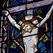 Detail of stained glass religious window in church — Stock Photo #7126042