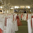 Wide shot of wedding reception winter wonderland theme - Stock Photo