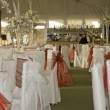 Wide shot of wedding reception winter wonderland theme — Stock Photo