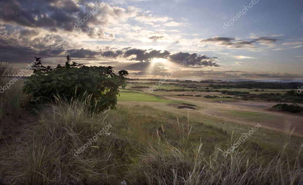 View of sunset across links golf course — Stock Photo #7129735
