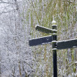 Blank three directional sign in snow - Stock Photo