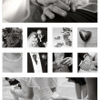 Stock Photo: Wedding Collage background collection in black and white