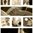 Wedding Collage background collection in sepia — Stock Photo