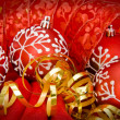 Chrsitmas Decorations red baubles and ribbons — Zdjęcie stockowe