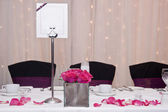 Wedding breakfast table setting with blank copy space on menu fo — Stock Photo