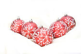 Christmas Decorations red baubles — Stock Photo
