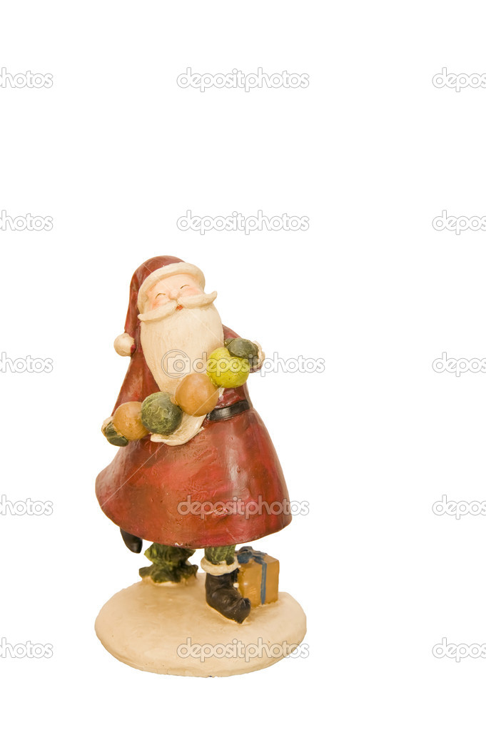 Handmade wooden Father Christmas ornament isolated on white — Stock Photo #7132720